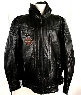 Harley-Davidson Mens 3XLT Marmax Racing 3-in-1 Leather Jacket Black 97002-18VM