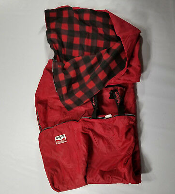 VTG Marlboro Unlimited Red Sleeping Bag with Plaid Fleece Lining Buckle Zip 90s