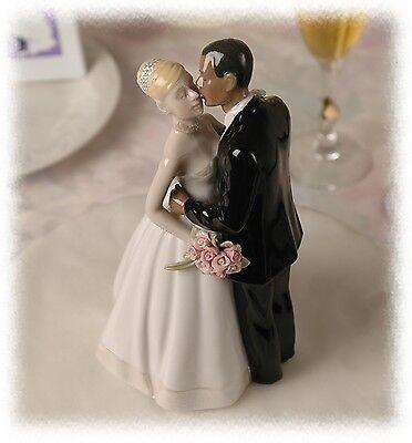 Groom Porcelain Wedding Cake Topper - Interracial Porcelain Wedding Cake Topper African American Groom Blond Bride
