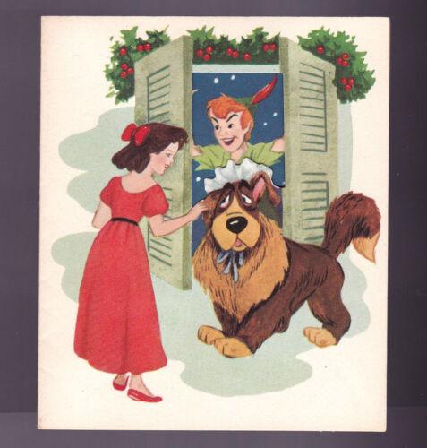 Disney Vintage Die Cut Christmas Card Peter Pan Gibson Greetings circa 1950s