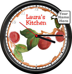 Retro Vintage Look Apple Tree Vine Personalized Name Kitchen Sign Wall Clock