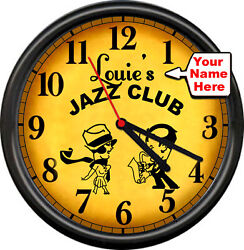 Jazz Musician Your Name Saxophone Piano Bar Music Room Retro Sign Wall Clock