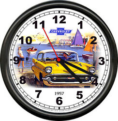 Licensed 1957 Classic Chevy 2 Dr Sedan Chevrolet General Motors Sign Wall Clock