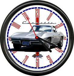 Licensed 1965 Corvette Silver Classic Chevrolet General Motors Sign Wall Clock
