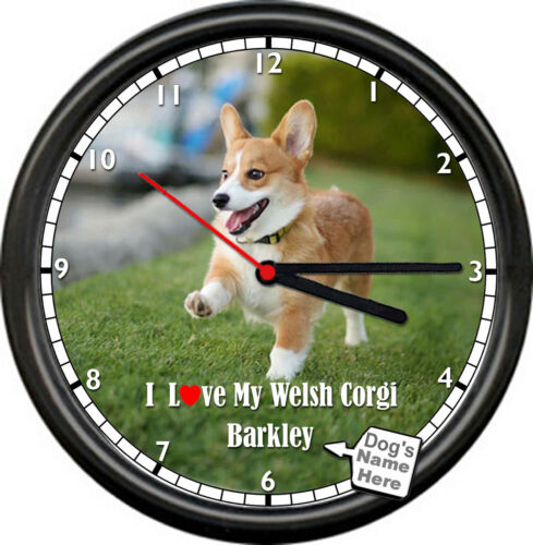 Personalized Name Welsh Corgi Hypo Allergenic Amazing Dog Lover Sign Wall Clock