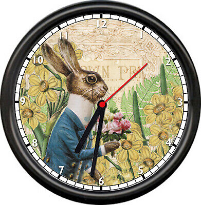 French Bunny Vintage Rabbit Spring Flowers Garden Sunflowers Sign Wall Clock - Bunny French