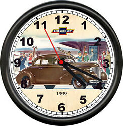 Licensed 1939 Classic Chevy 2 Dr Coupe Chevrolet General Motors Sign Wall Clock