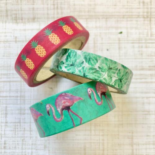 3 Rolls Tropical Washi Tape Papercraft Planner Supply Flamingo Pineapple Luau
