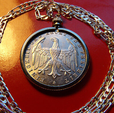 """1923 GERMAN EAGLE 500 MARK Coin Pendant on a 30"""" .925 Sterling Silver Chain"""