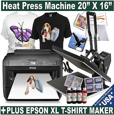 "HEAT PRESS 20""X16"" MACHINE PLUS EPSON PRINTER INK CIS T-SHIRT MAKER START PACK"
