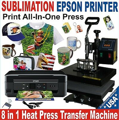 8 in 1 HEAT PRESS TRANSFER SUBLIMATION COMBO COMPLETE PACK Plus PRINTER EPSON