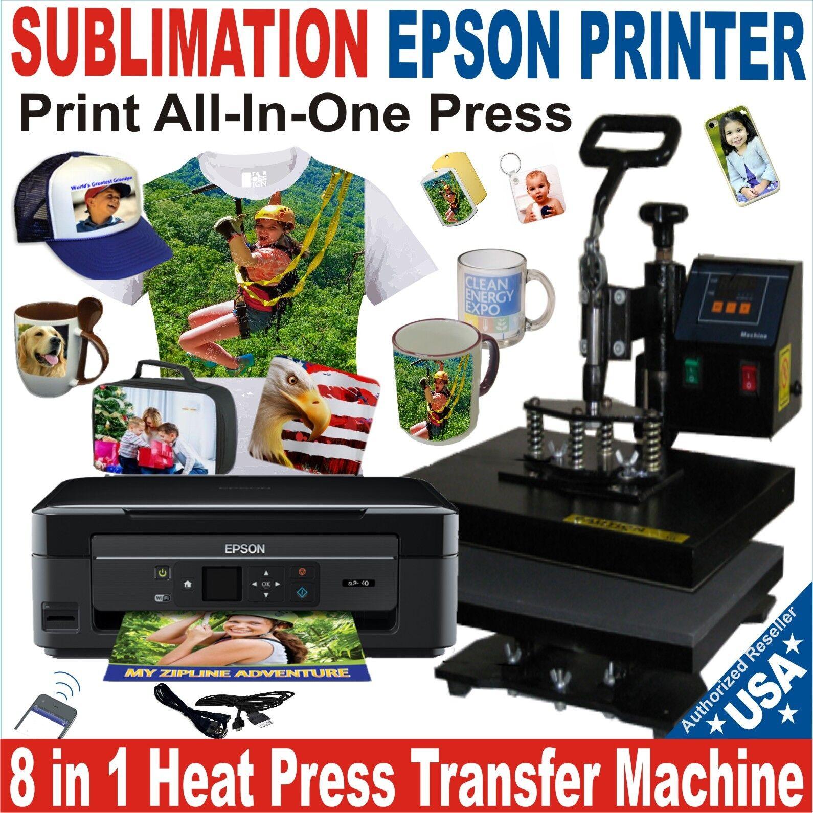 8 In 1 Heat Press Transfer Sublimation Combo Plus Printer...