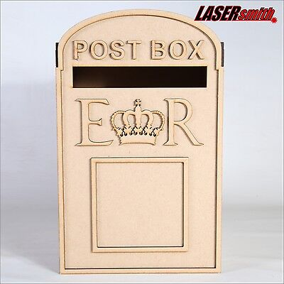 Wedding Post Box, Royal Mail Styled, Flat Pack, Unpainted MDF for Cards etc - Box For Wedding Cards