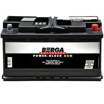 BERGA Autobatterie Start Stop AGM 12V 95Ah Starterbatterie ersetzt 92Ah 90Ah