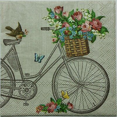 BIRD ON A BIKE FLORAL 2 individual LUNCH SIZE paper napkins for decoupage 3-ply