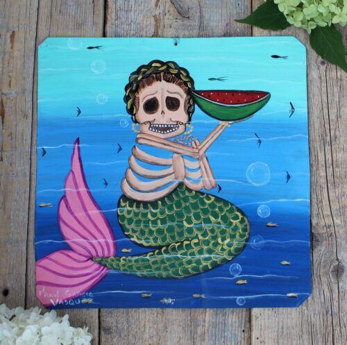 Day of the Dead Tin Retablo Skeleton Mermaid & Watermelon Oaxaca Mexico Folk Art