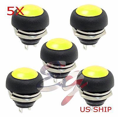 Yellow 5 Pcs M4 12mm Waterproof Momentary Onoff Push Button Round Spst Switch