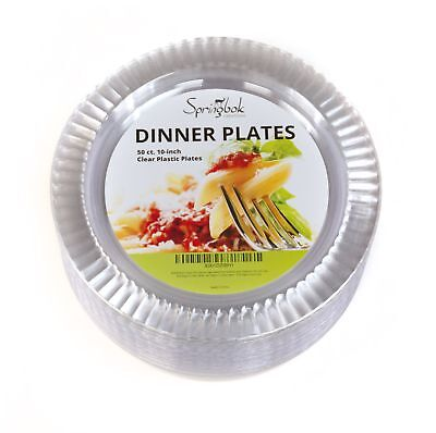 Springbok Creations 10-inch Clear Plastic Dinner Plates (50 - Plastic Plates Clear
