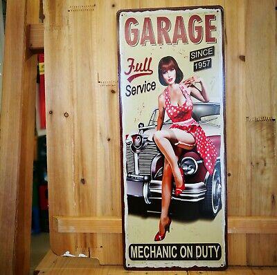 Blechschild Auto Car Oldtimer Garage Service Pinup Girl NEU