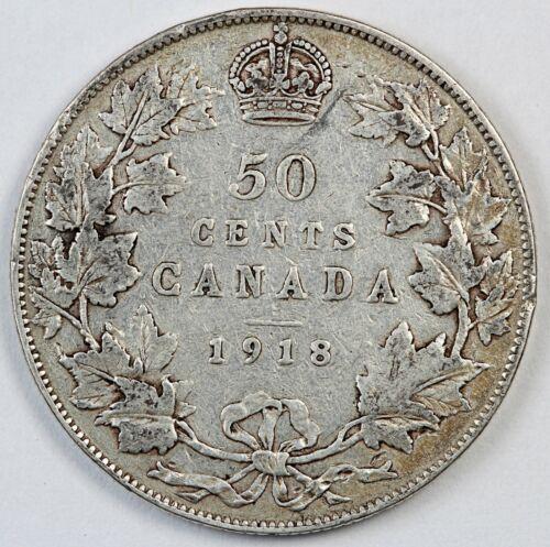 1918 Canada / Canadian Fifty Cents Half Dollar - F Fine Condition