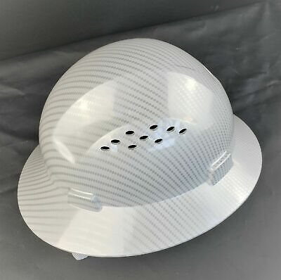 Hdpe  Hydro Dipped Whitesilver Full Brim Hard Hat With Fas-trac Suspension