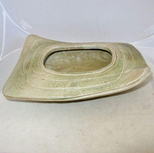 """Signed Old Japanese Porcelain Ikebana Vase with Tan & Celadon Green Glaze  (12"""")"""