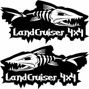 LANDCRUISER 4x4 EVIL FISH fishing 4wd series Stickers PAIR 300mm