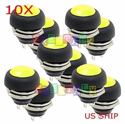 Yellow 10x Pcs M4 12mm Waterproof Momentary Onoff Push Button Round Spst Switch