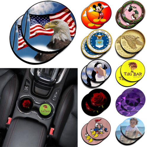 2pcs Round Custom Printed Neoprene Fabric Cup Mug Holder Car Coasters