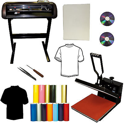 24 Vinyl Cutter Plotter15x15 Heat Presstransfer Papertshirts Start-up Bundle