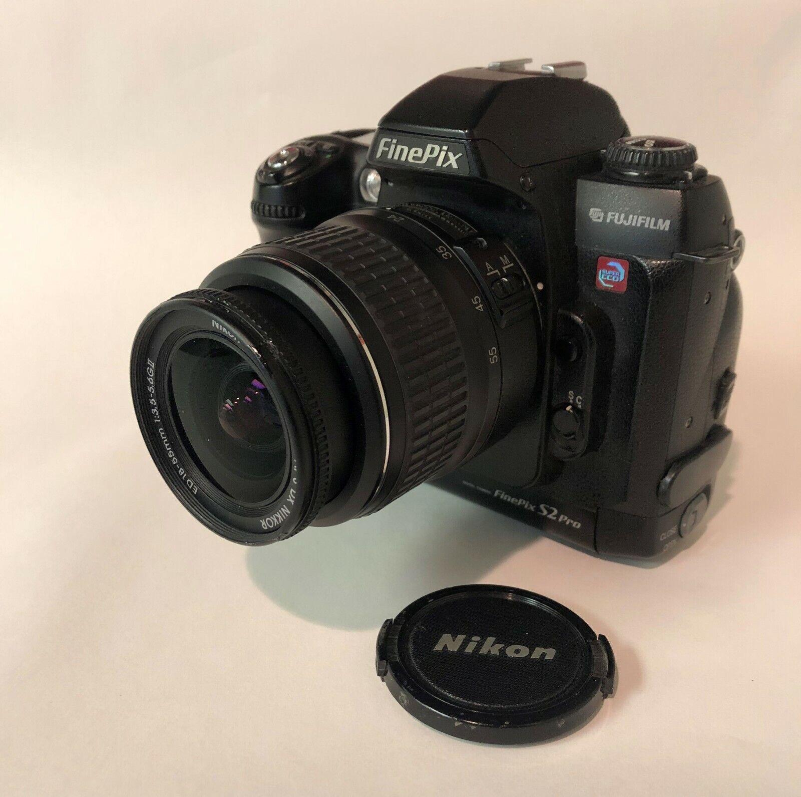 Fuji Finepix S2 Pro DSLR Body W/Nikon DX 18-55mm AF-S Nikkor 1 3.5-5.6GIIED Lens - $100.00