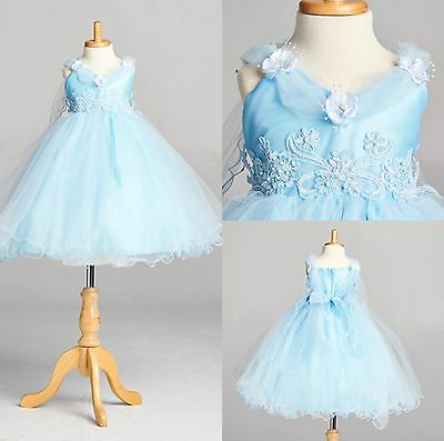Baby Blue Cinderella Disney Inspired Wing Application Ball Gown Toddler Girl #33
