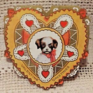 VINTAGE-EARLY-20th-CENTURY-VALENTINE-GREETING-CARD-VALENTINE-GREETINGS-PUPPY