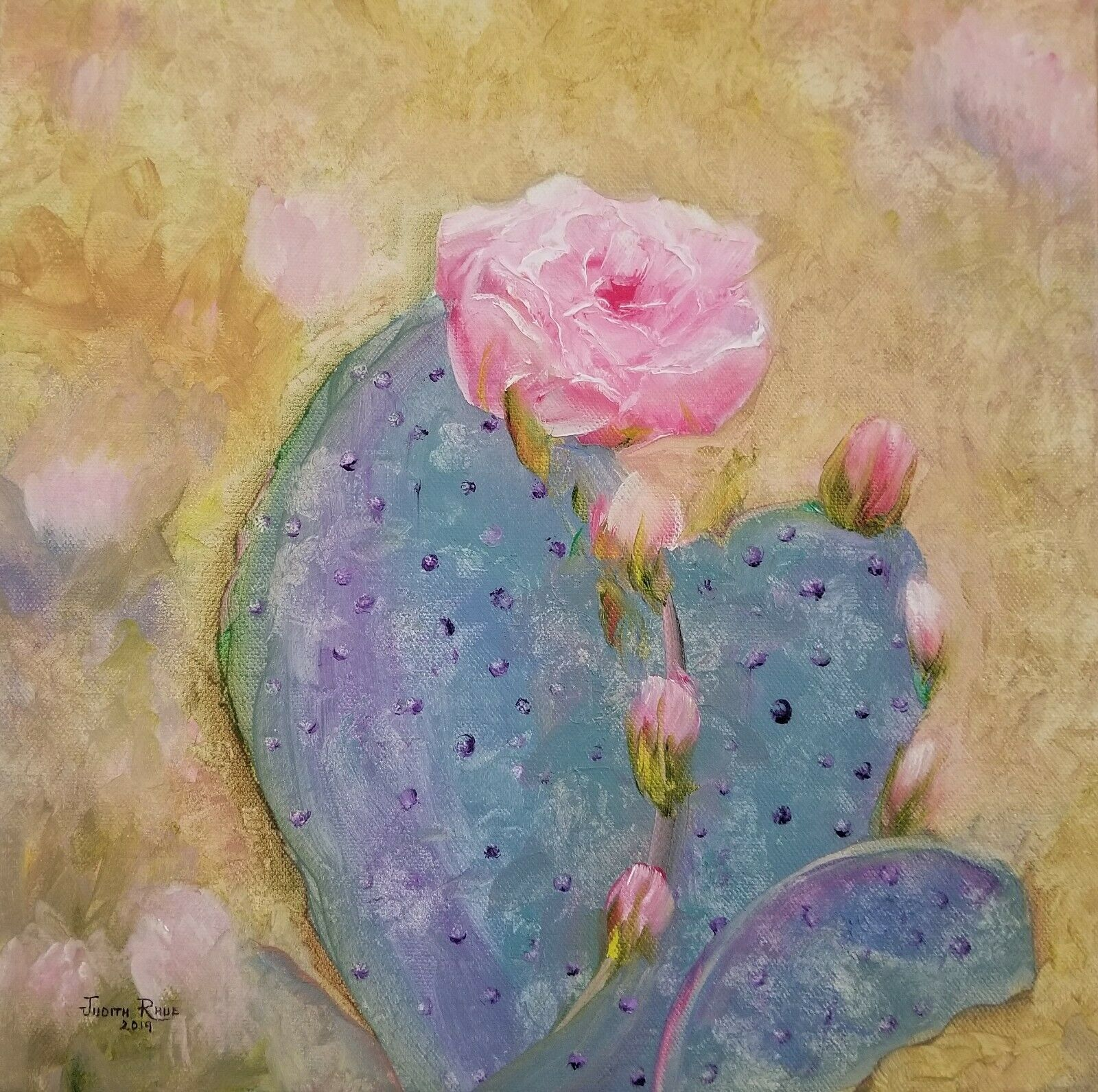 Original Oil Painting Cactus Prickly Pear Flower Desert Arizona Canvas Signed  - $300.00