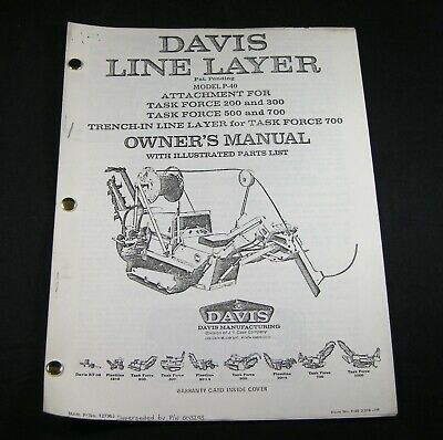 Case Davis P40 Line Layer Attachment For Task Force 200 300 500 700 Parts Manual