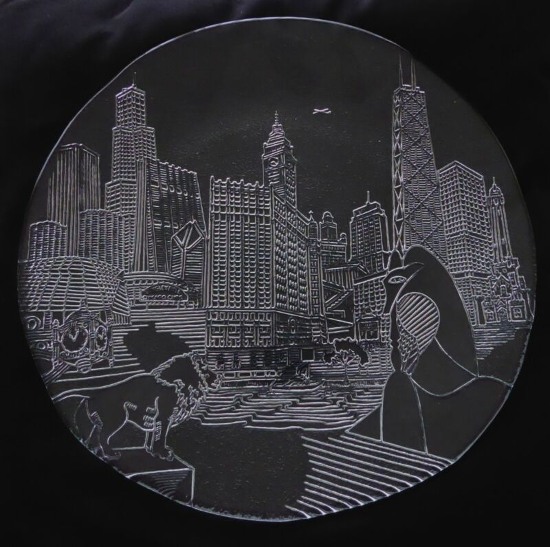 Chicago Cubs Sears Tower Marshall Fields Art Institute Embossed Plate Platter