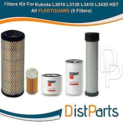 Kubota L3010 L3130 L3410 L3430 Hst Models Filters Kit All Fleetguard