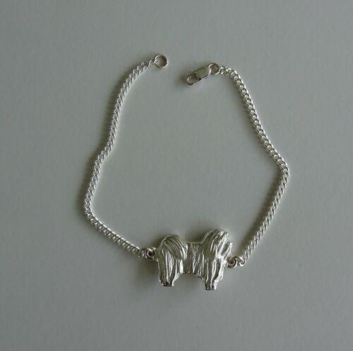 Small Sterling Silver Havanese Standing Study Bracelet