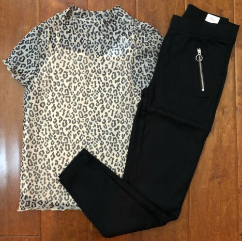 NWT JUSTICE GIRLS 10 12 OUTFIT~LEOPARD MOCK NECK MESH TOP & BLACK PONTE PANTS