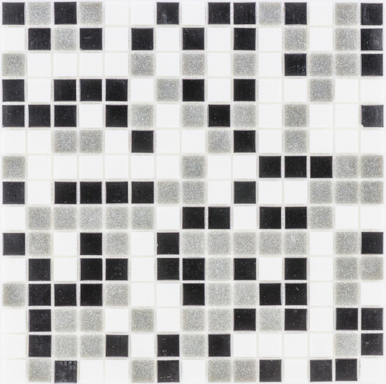 Glasmosaik Fliesenschwarz grau weiss Wand Boden WC Küche 10 Matten ES-28542 _f