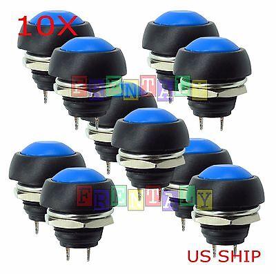 Blue 10x Pcs M4 12mm Waterproof Momentary Onoff Push Button Round Spst Switch