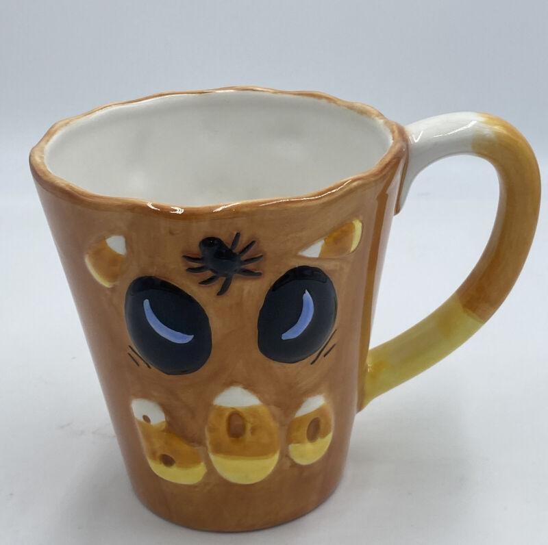 Inspirado BOO Coffee Mug Cup Halloween Spider Candy Corn Hand Painted Ships Free