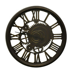 Steampunk Style Skeleton Wall Clock with Roman Numerals
