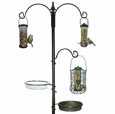 Wild Bird Feeding Station for Garden Water Bath Tray Table Hanging Feeder Steel