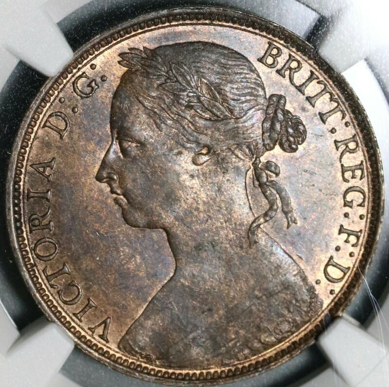 1889 NGC MS 63 Victoria Penny Great Britain RB Mint State Coin (20070301C)