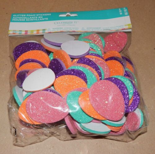 "Easter Kids Crafts Foam Stickers Glitter 2""- 1 1/2"" & 1"" Size 120pc Eggs 108X"
