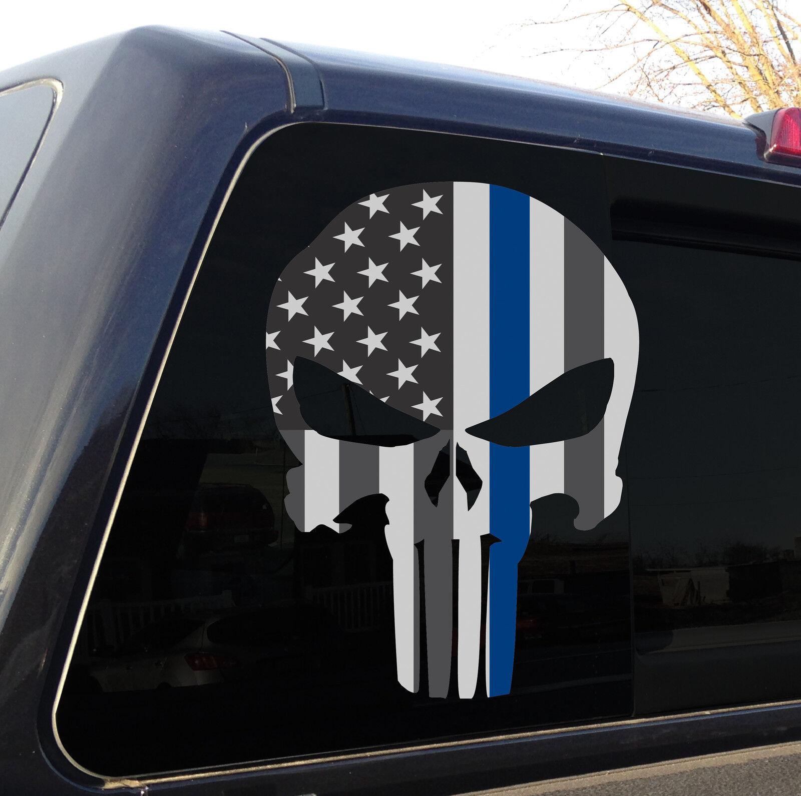 Truck Rear Window Decal Thin Blue Line Police Cops USA American Flag Vinyl Wrap