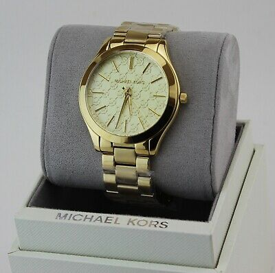 NEW AUTHENTIC MICHAEL KORS SLIM RUNWAY GOLD MONOGRAM WOMEN'S MK3335 WATCH