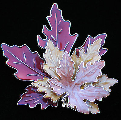 RUST TAN AUTUMN THANKSGIVING TRIPLE MAPLE LEAF LEAVES BROOCH PENDANT JEWELRY