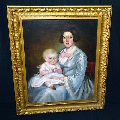 19C Canadian Folk Oil Painting Mother   Baby Attrib Robert Whale  1805 87   Sto